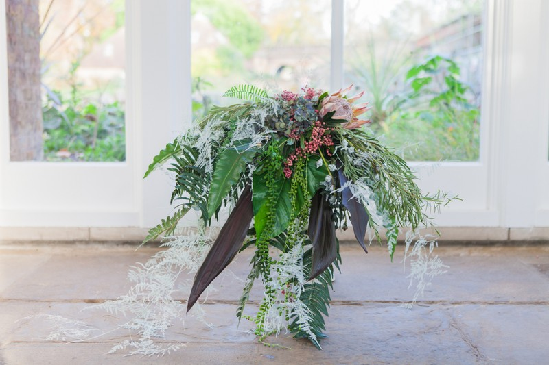 Oversized tropical wedding bouquet
