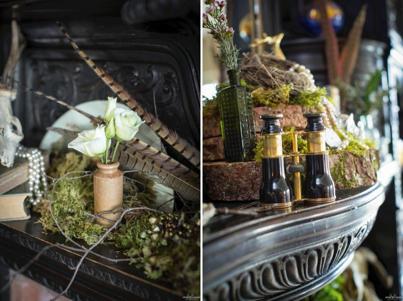 Rustic wedding props on shelf