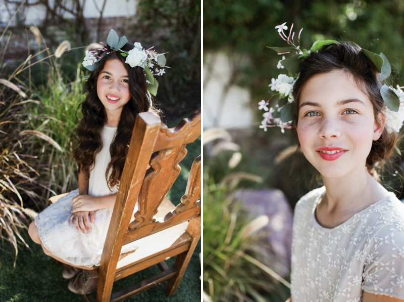 Flower girls with flower and foliage crowns