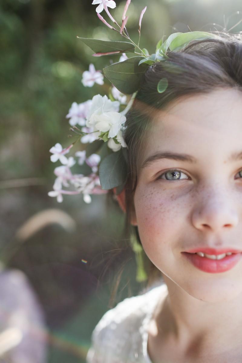 Flower girl with flower in her hair
