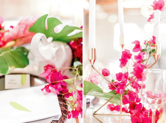 Elephant ornament wedding table decoration with bougainvillea and candles