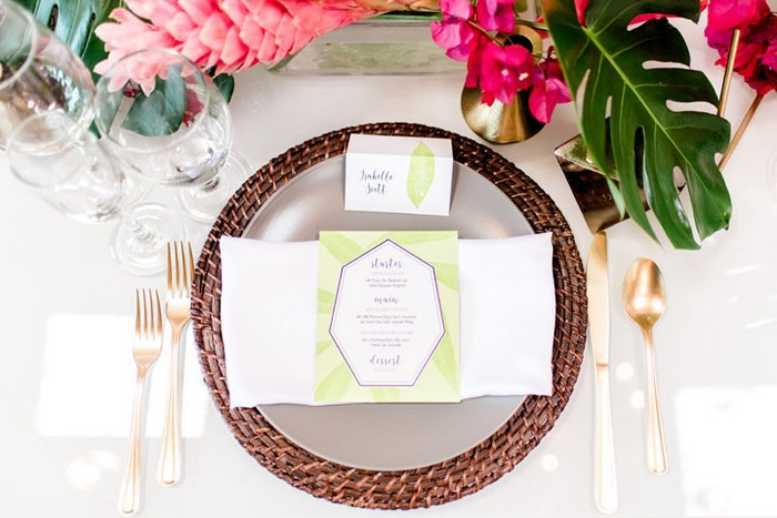 Wedding place setting with light green menu