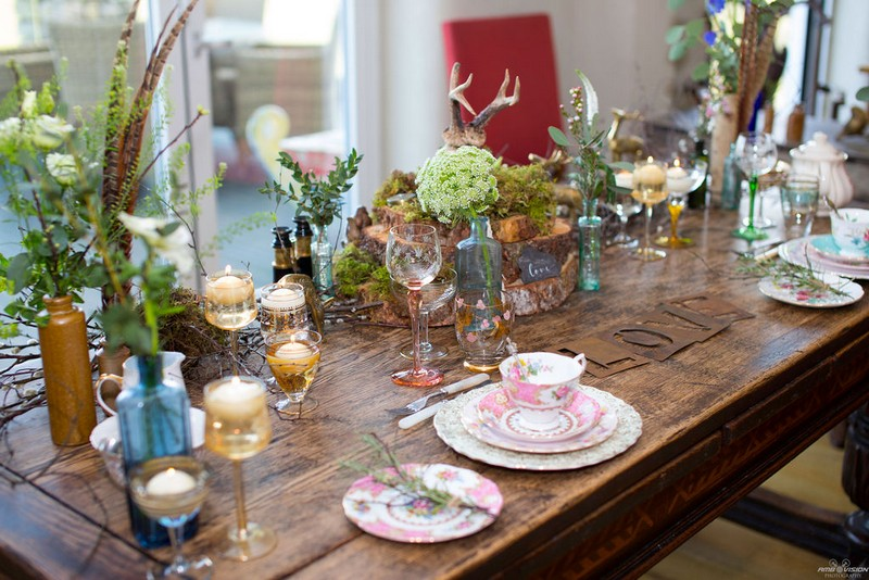 Rustic wedding table with countryside themed styling