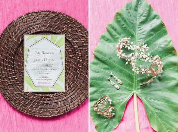 Tropical wedding stationery and bridal jewellery on palm leaf