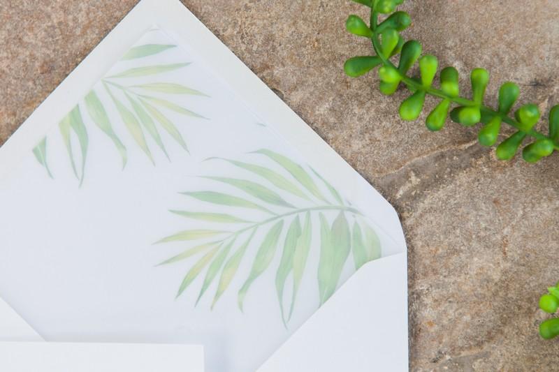Palm leaf envelope liner