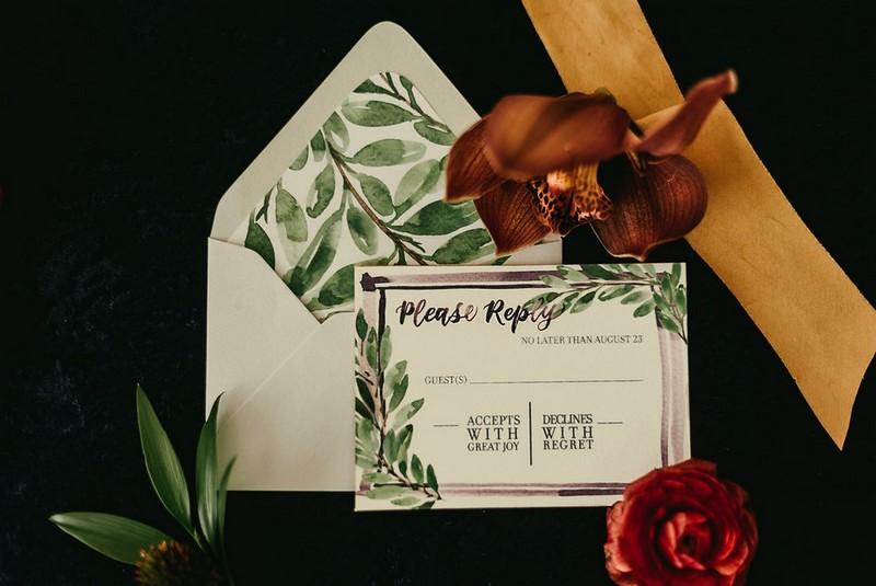 Wedding RSVP and envelope with leaf detail