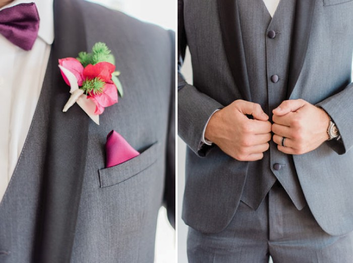 Groom's grey suit and bright pink buttonhole