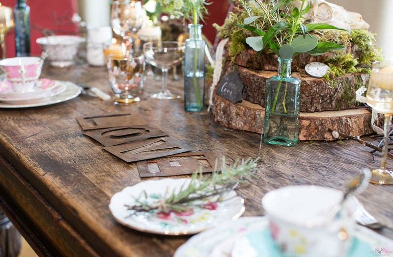 Rustic countryside wedding table styling