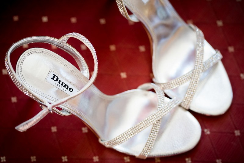 Strappy Dune bridal sandals