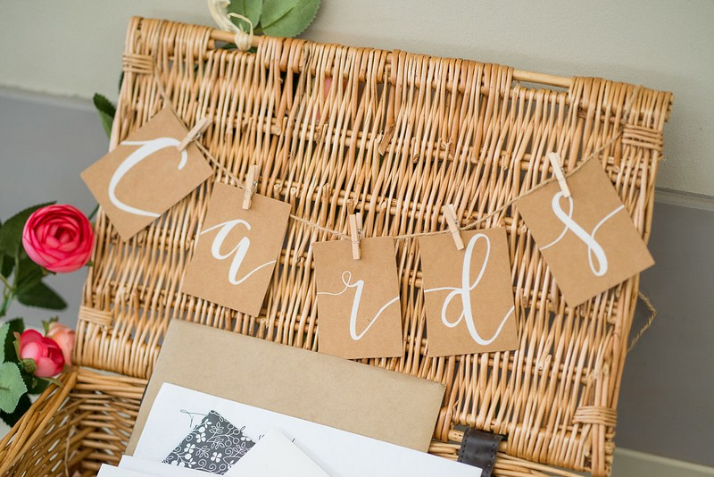 Wicker hamper basket for wedding cards