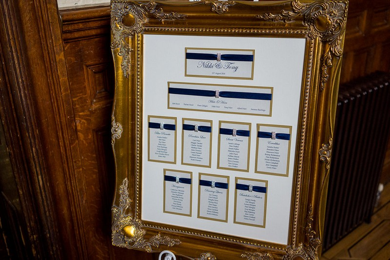 Blue and gold wedding table plan in elegant frame