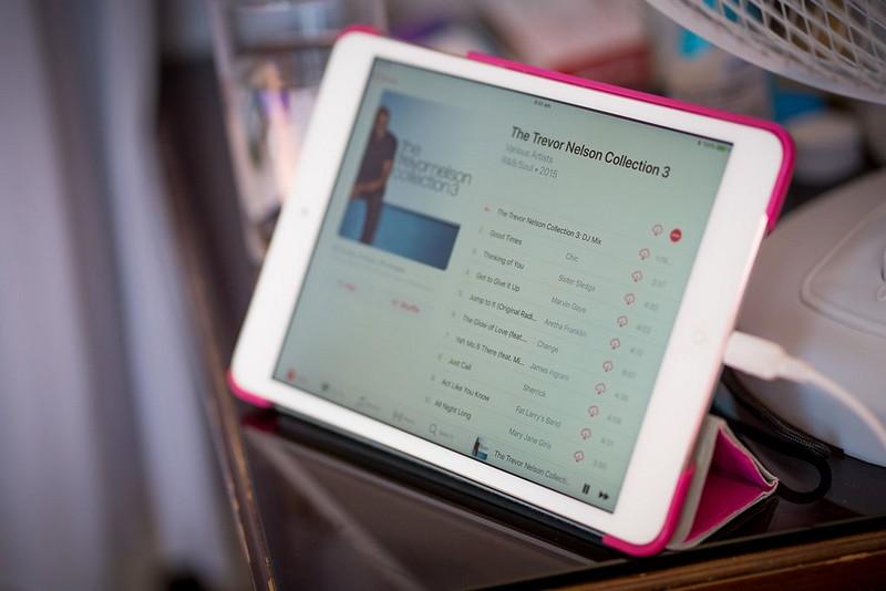 iPad playing music for bridal preparations