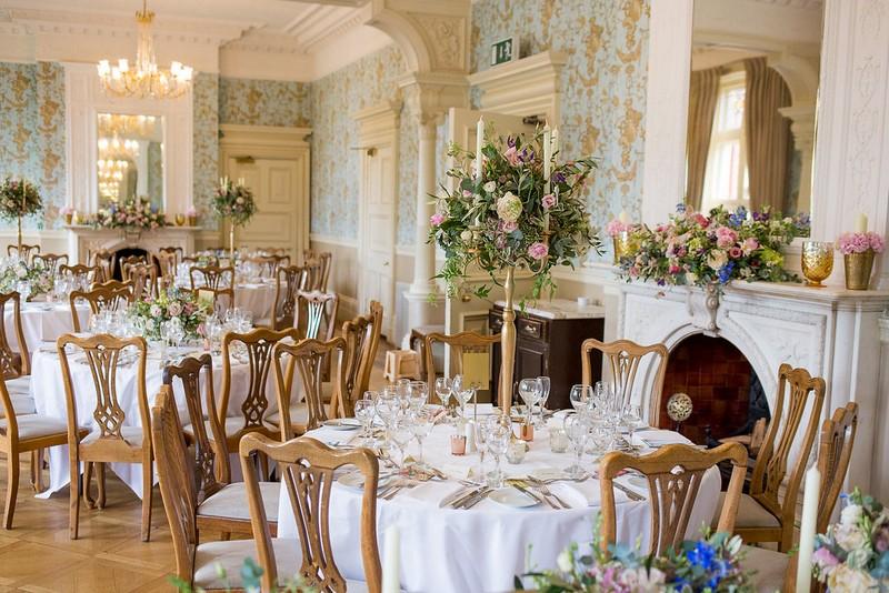 Elegant wedding tables in Pendley Manor