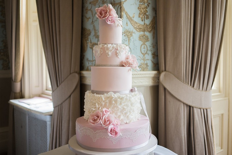 Five-tier pink wedding cake