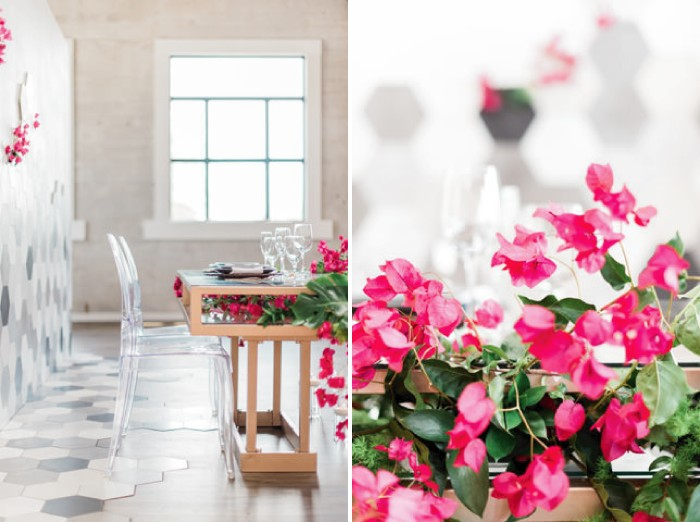 Ghost chairs and bright pink bougainvillea