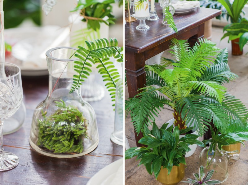 Tropical foliage wedding table decor