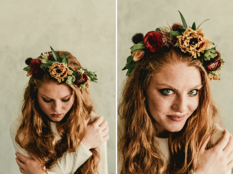 Bride wearing autumn flower crown