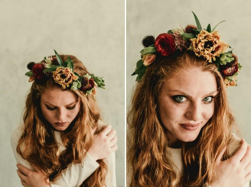 Bride wearing autumn flower crown