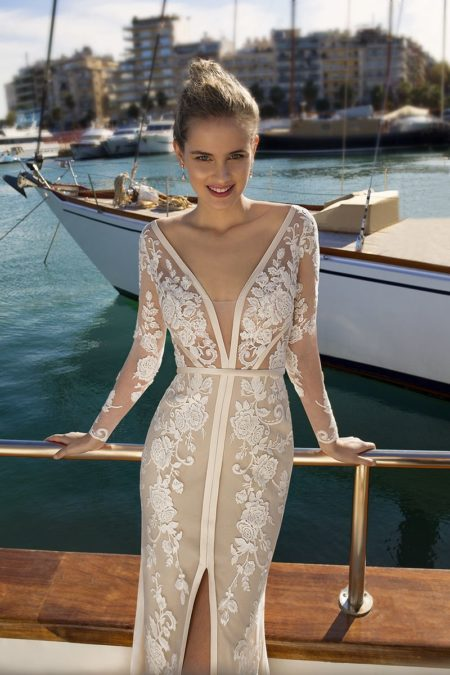 Detail on DR248 Wedding Dress from the Demetrios Destination Romance 2019 Bridal Collection
