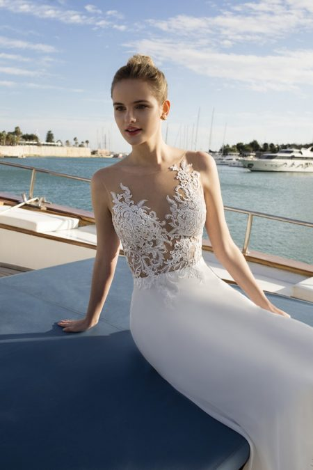 Detail on DR251 Wedding Dress from the Demetrios Destination Romance 2019 Bridal Collection
