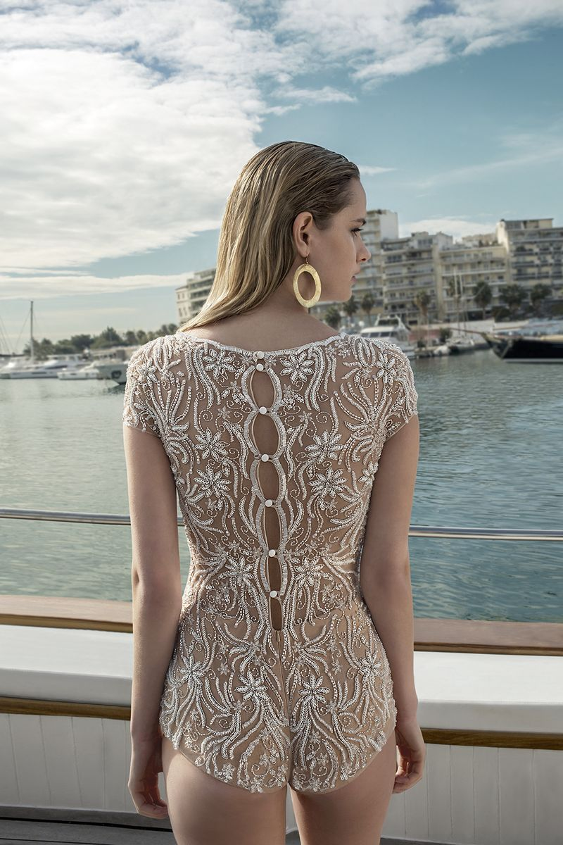 Deatil on Back of DR273T Bodysuit from the Demetrios Destination Romance 2019 Bridal Collection