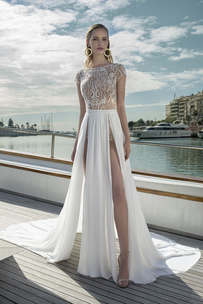 DR273T Bodysuit with DR269S Skirt from the Demetrios Destination Romance 2019 Bridal Collection