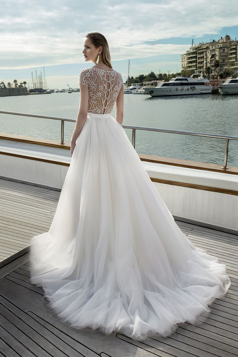 Back of DR273T Bodysuit with DR272S Skirt from the Demetrios Destination Romance 2019 Bridal Collection