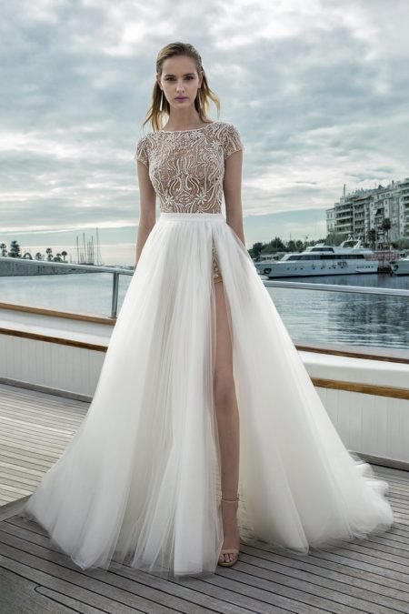DR273T Bodysuit with DR272S Skirt from the Demetrios Destination Romance 2019 Bridal Collection