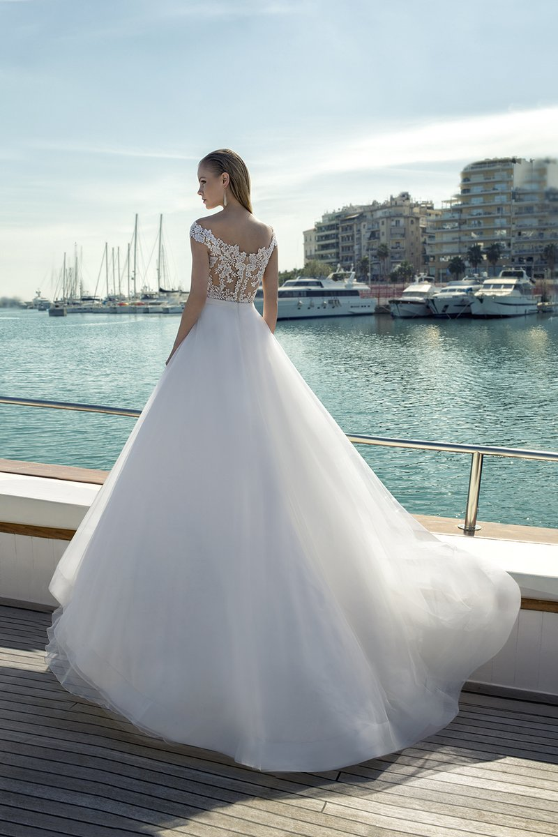 Back of DR274T Bodysuit with DR268S Skirt from the Demetrios Destination Romance 2019 Bridal Collection