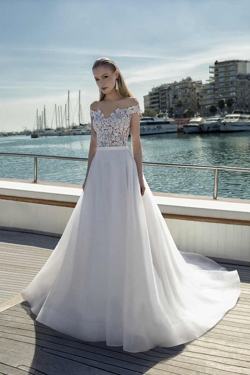 DR274T Bodysuit with DR268S Skirt from the Demetrios Destination Romance 2019 Bridal Collection