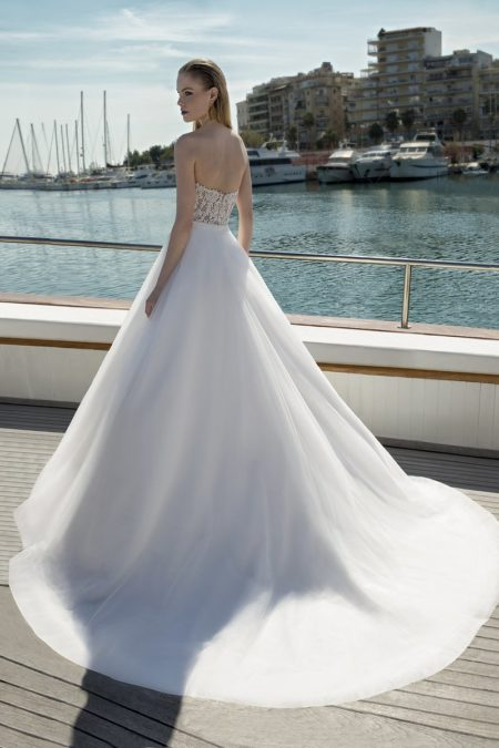 Back of DR275T Bodysuit with DR268S Skirt from the Demetrios Destination Romance 2019 Bridal Collection