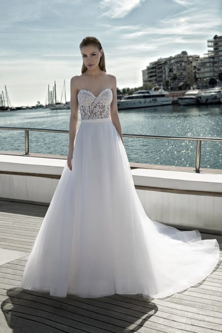 DR275T Bodysuit with DR268S Skirt from the Demetrios Destination Romance 2019 Bridal Collection