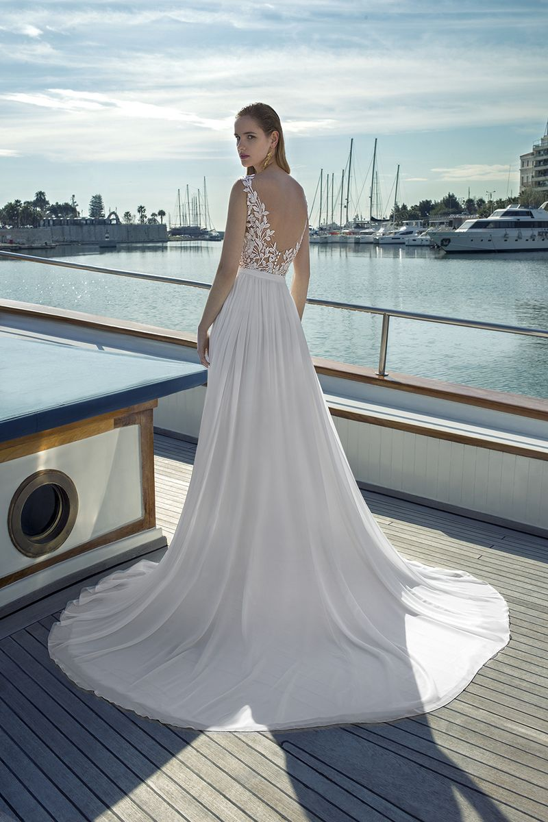 Back of DR277T Bodysuit with DR271S Skirt from the Demetrios Destination Romance 2019 Bridal Collection