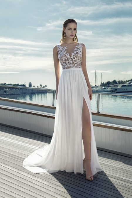 DR277T Bodysuit with DR271S Skirt from the Demetrios Destination Romance 2019 Bridal Collection