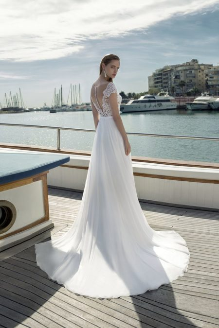 Back of DR278T Bodysuit with DR270S Skirt from the Demetrios Destination Romance 2019 Bridal Collection
