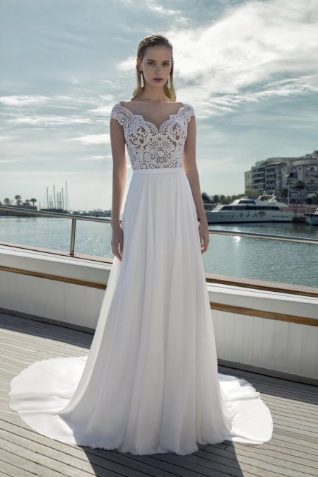 DR278T Bodysuit with DR270S Skirt from the Demetrios Destination Romance 2019 Bridal Collection