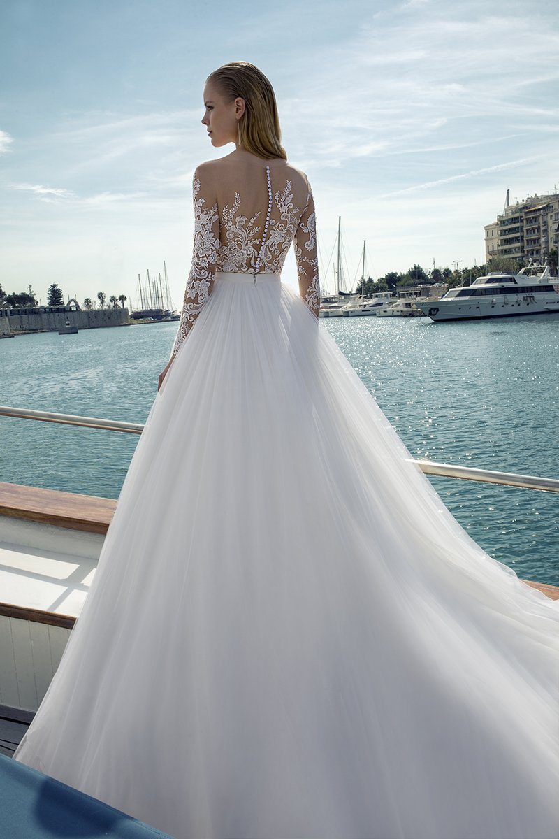 Back of DR279T Bodysuit with DR266S Skirt from the Demetrios Destination Romance 2019 Bridal Collection