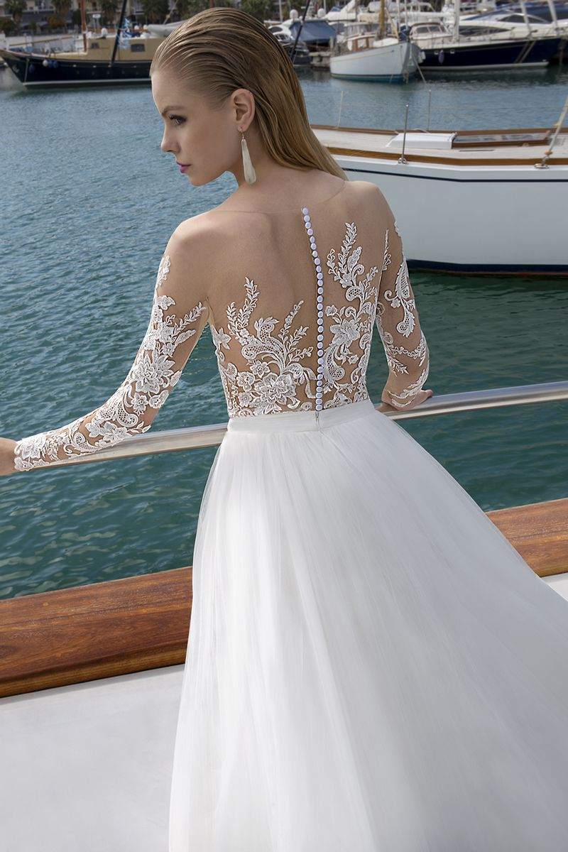 Detail on Back of DR279T Bodysuit with DR266S Skirt from the Demetrios Destination Romance 2019 Bridal Collection