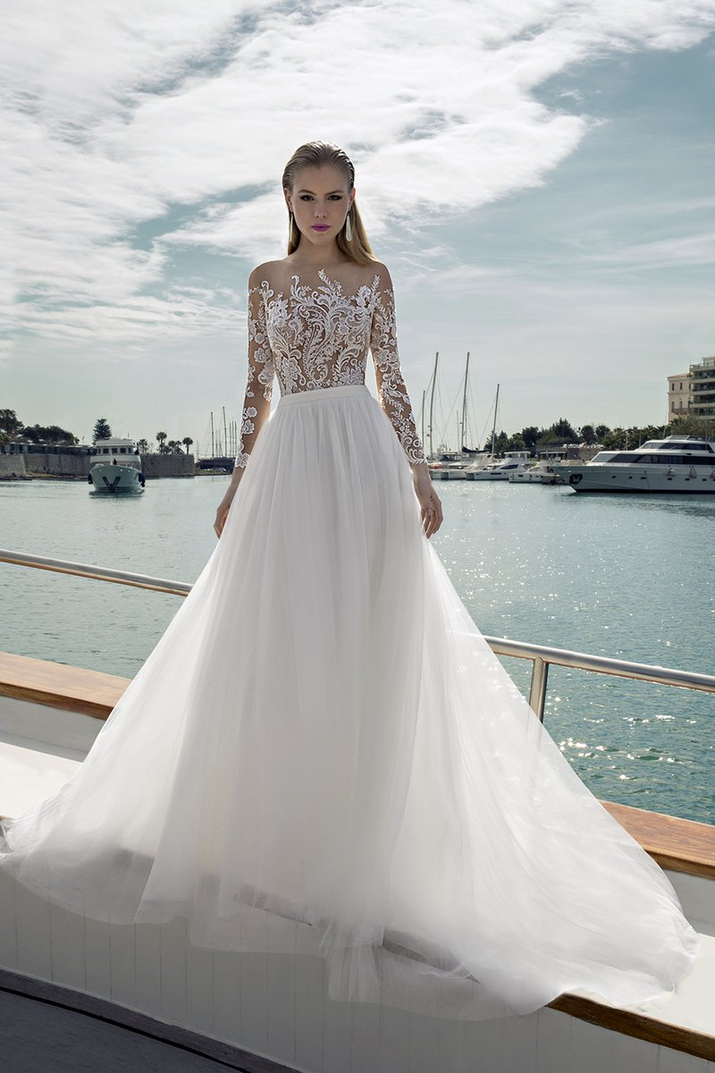 DR279T Bodysuit with DR266S Skirt from the Demetrios Destination Romance 2019 Bridal Collection