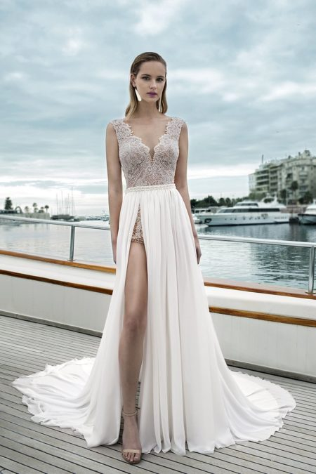 DR281T Bodysuit with DR269S Skirt from the Demetrios Destination Romance 2019 Bridal Collection