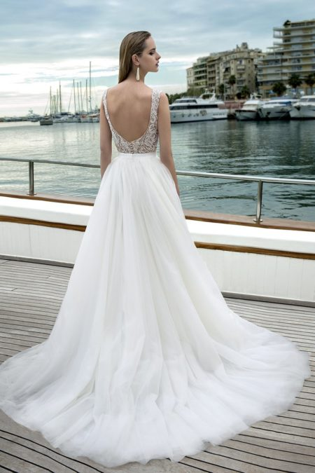 Back of DR281T Bodysuit with DR272S Skirt from the Demetrios Destination Romance 2019 Bridal Collection