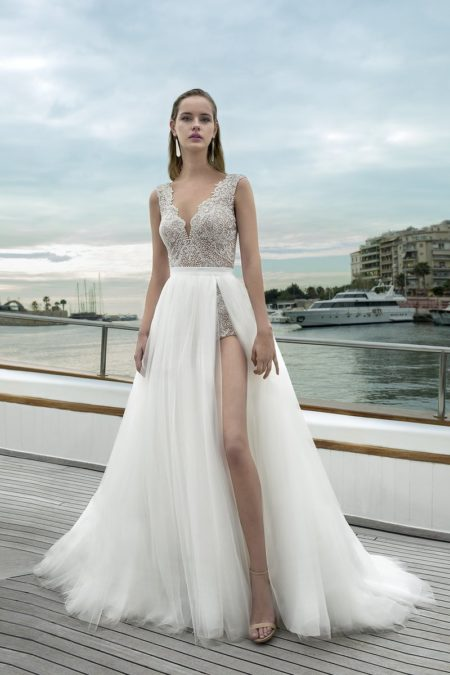 DR281T Bodysuit with DR272S Skirt from the Demetrios Destination Romance 2019 Bridal Collection
