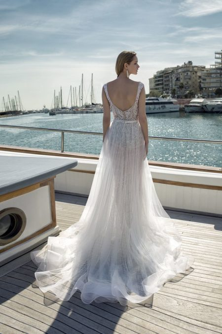 Back of DR281T Bodysuit with DR273S Skirt from the Demetrios Destination Romance 2019 Bridal Collection