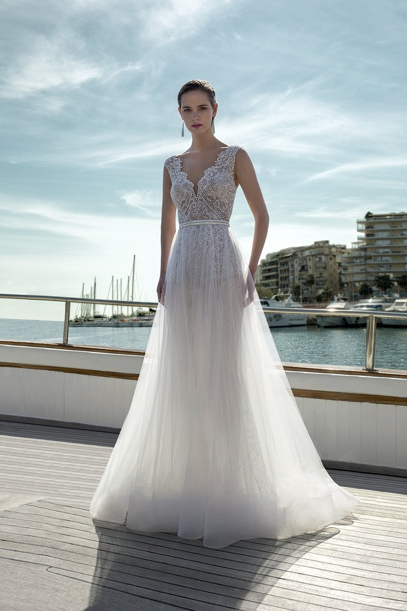 DR281T Bodysuit with DR273S Skirt from the Demetrios Destination Romance 2019 Bridal Collection