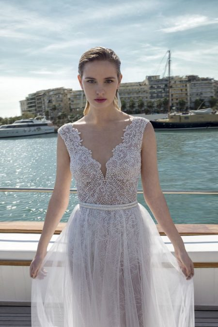 Detail on DR281T Bodysuit with DR273S Skirt from the Demetrios Destination Romance 2019 Bridal Collection