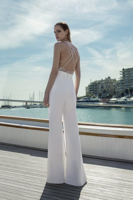 Back of DR283T Bodysuit with DR265P Trousers from the Demetrios Destination Romance 2019 Bridal Collection