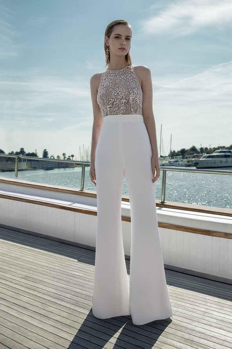 DR283T Bodysuit with DR265P Trousers from the Demetrios Destination Romance 2019 Bridal Collection