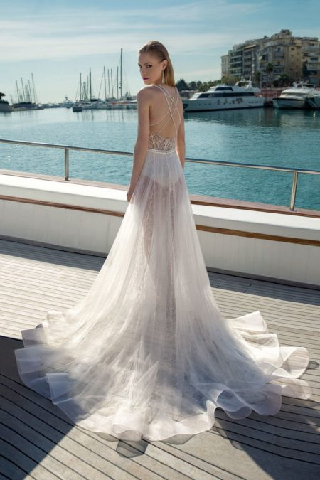 Back of DR284T Bodysuit with D273S Skirt from the Demetrios Destination Romance 2019 Bridal Collection