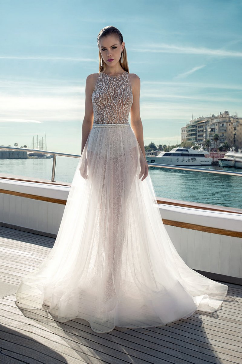 DR284T Bodysuit with D273S Skirt from the Demetrios Destination Romance 2019 Bridal Collection