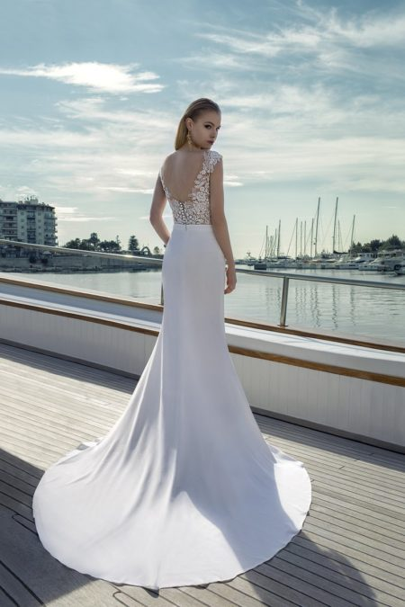 Back of DR285T Bodysuit with DR267S Skirt from the Demetrios Destination Romance 2019 Bridal Collection